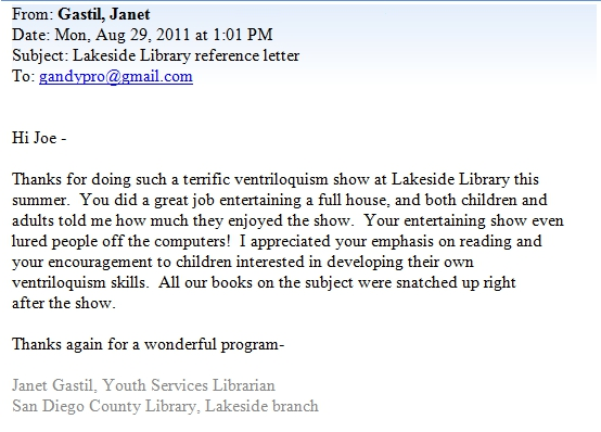 Testimonial from the Lakeside Library